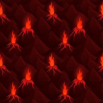 Kunst met donker naadloos patroon met vulkanen