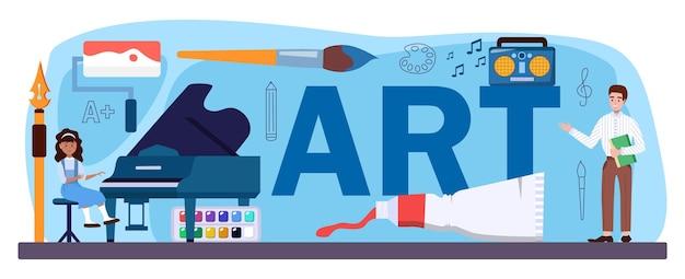 Kunst typografische kop. student met kunsthulpmiddelen die leren tekenen