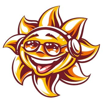Kunst van de vrolijke zon in zonnebrillen en koptelefoons die genieten van muziek en zomerse vibes. zomerfeestzon karakter, symbool van jeugd en zorgeloos. vectorillustratie geïsoleerd op wit.