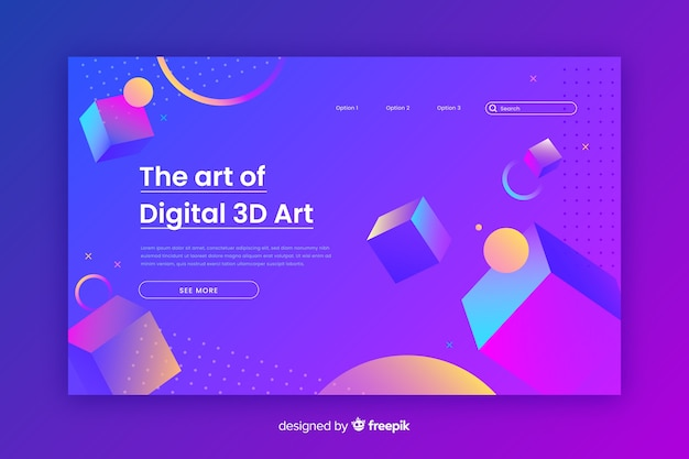 Kunst van digitale 3d-bestemmingspagina