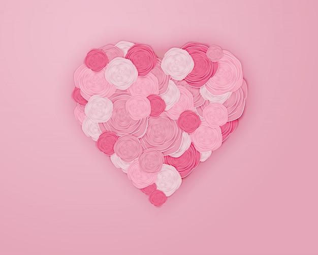 Kunst van het papier van de roos in hartvorm vectorillustratie