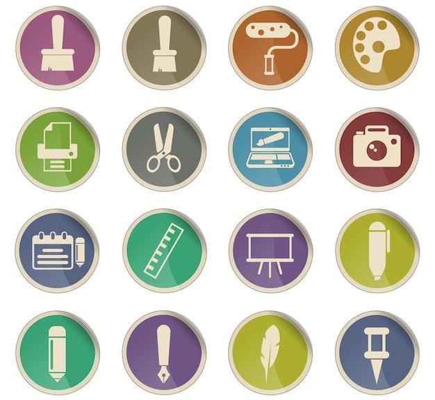 Kunst vectorpictogrammen in de vorm van ronde papieren etiketten