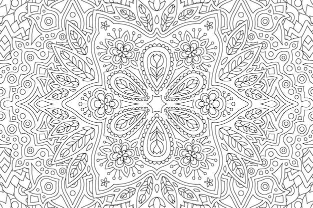 Kunst voor het kleuren van boek met lineair bloemmotief