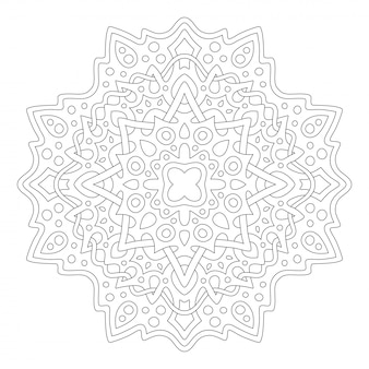 Kunst voor het kleuren van de fotoboekpagina met lineair mandala-ontwerp Premium Vector