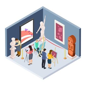 Kunstacademiestudenten. isometrische vectorkunstenaars, beeldhouwer, restaurateur, fotograaf in het museum