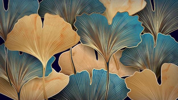 Kunstachtergrond met blauwe en gouden ginkgobladeren voor textieldecoratie, verpakking of webbanner