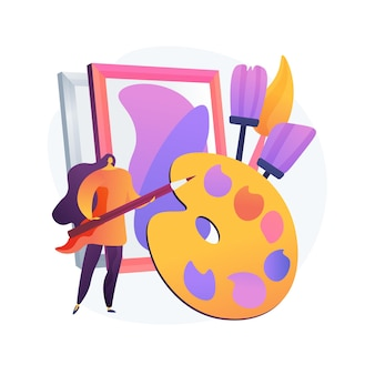 Kunstatelier klasse. schilderles, lesgeven in tekenen, schildersworkshop. creatief beroep en vrijetijdsidee. kunstenaar met penselen en palet.