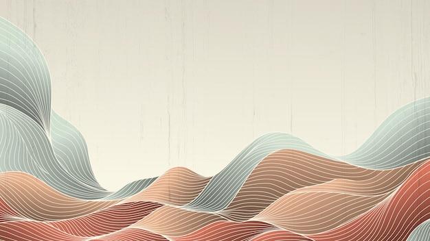 Kunstbanner met een patroon van abstracte lijnen en golven in een oosterse stijl.