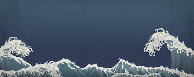 Kunstbanner met golven van de zee in oosterse traditionele stijl met structuurpatroon op de achtergrond voor decoratie.
