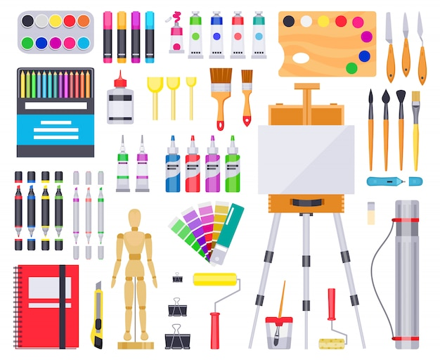 Kunstbenodigdheden. schilder- en tekenmaterialen, creatieve kunstgereedschappen, artistieke benodigdheden, verven, penselen en schetsboekillustratiepictogrammen. kunstpalet, penseel en educatieve creativiteit