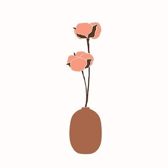 Kunstcollage van katoenen bloemen in een vaas in een minimalistische trendy stijl. silhouet van een katoenen tak in een eenvoudige abstracte stijl. vectorillustratie voor gedrukte t-shirts, kaarten, posters, sociale media