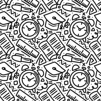 Kunstdecoratie van de handtekening van de schooltijd met pictogrammen en ontwerpelementen