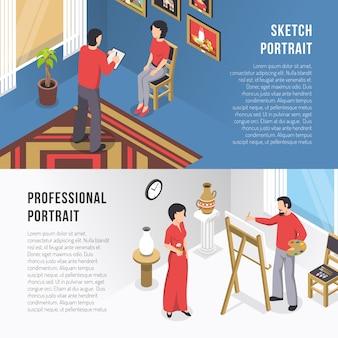 Kunstenaar en portret isometrische banners