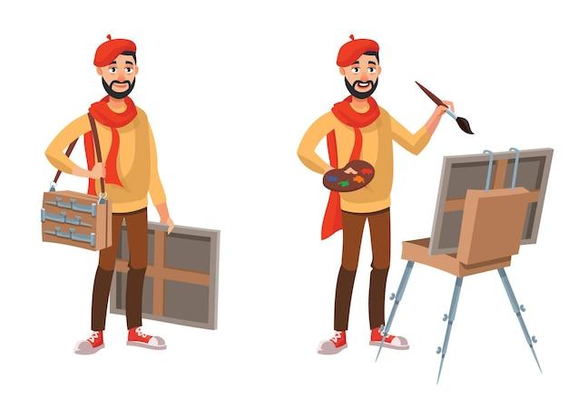 Kunstenaar in verschillende poses. mannelijke persoon in cartoon-stijl.