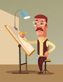 Kunstenaar man karakter tekent. platte cartoon afbeelding