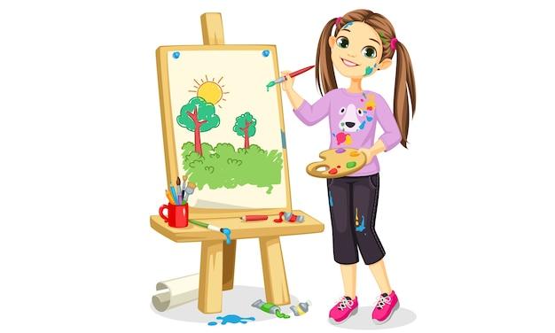 Kunstenaar meisje schilderij op canvas mooie illustratie