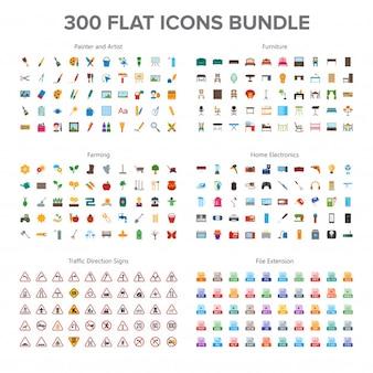 Kunstenaar, meubels, landbouw, huiselektronica en verkeersborden 300 vlakke pictogrammen bundel