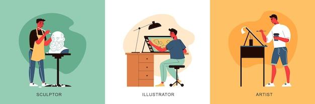 Kunstenaar ontwerp en werk concept illustratie