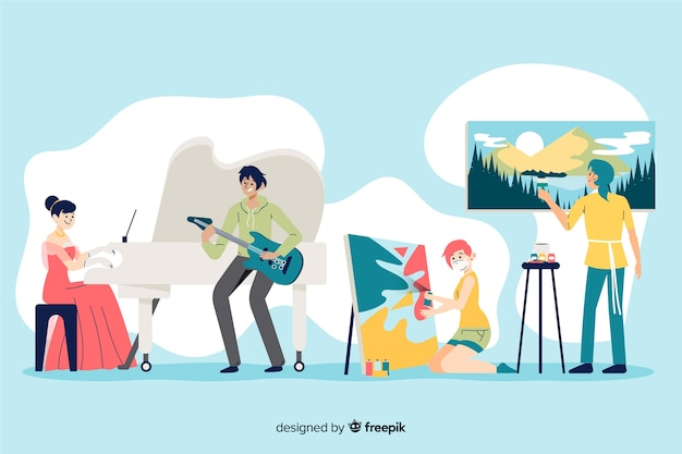 Kunstenaar op het werk plat ontwerp