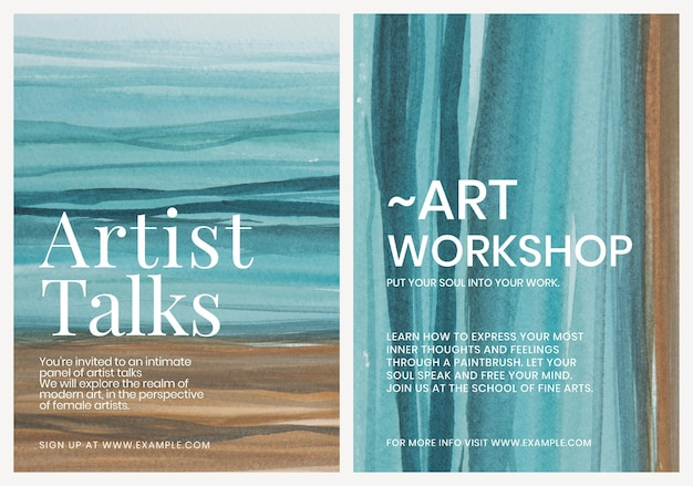 Kunstenaar praat aquarel sjabloon esthetische advertentie poster dubbele set