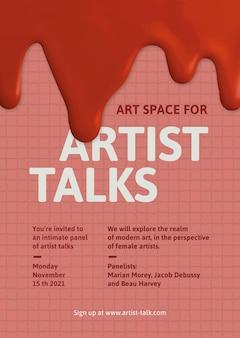 Kunstenaar praat sjabloon vector creatieve verf druipende advertentie poster