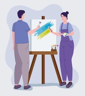 Kunstenaar schilderen op canvas