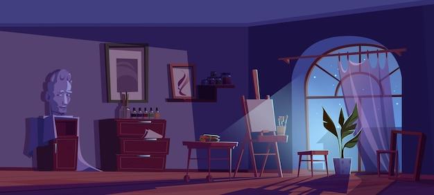 Kunstenaar studio bij nacht cartoon afbeelding.