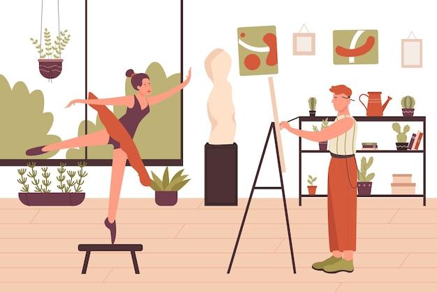 Kunstenaar tekening balletdanser portret kunst school interieur