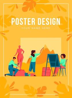 Kunstenaars die een poster-sjabloon voor kunstwerken maken