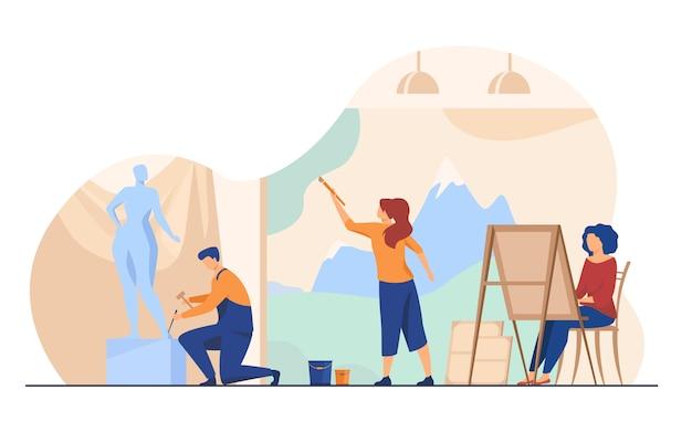 Kunstenaars die kunstwerken vlakke illustratie creëren