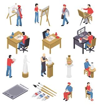 Kunstenaars en accessoires isometrische set