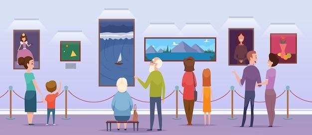 Kunstgallerij. mensen kijken naar een foto in een museum schilderij tentoonstelling portretten studenten illustraties stripfiguren. galerij en museum, tentoonstelling expositie illustratie