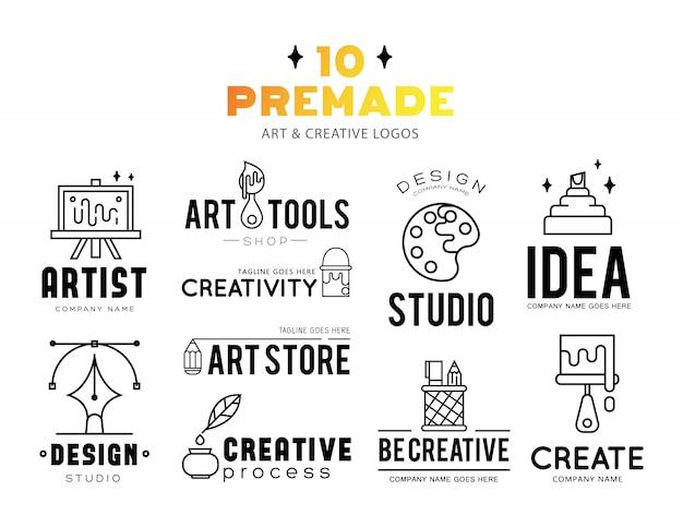 Kunstgereedschap en materialen voor het schilderen van logo-ontwerp.