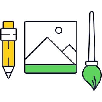 Kunstgereedschap voor het maken van vectorpictogram plat ontwerp