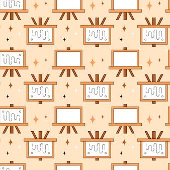 Kunsthulpmiddelen en materialen creatief pictogram naadloos patroon