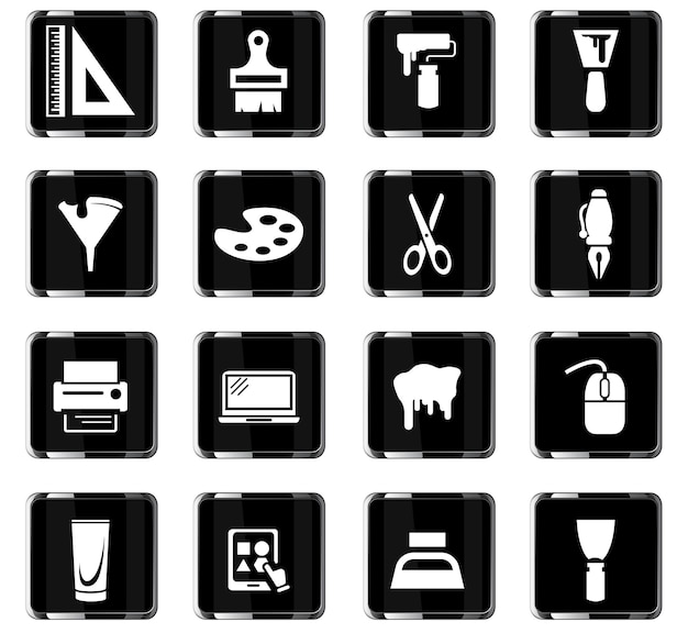 Kunsthulpmiddelen vectorpictogrammen voor gebruikersinterfaceontwerp
