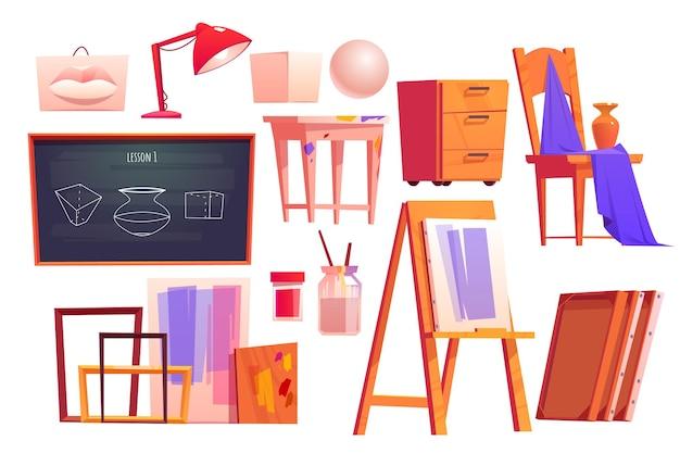 Kunstklasmeubilair apparatuur voor kunstenaarsstudio schildersezel schoolbordframes canvas verven en penselen cartoon set schoolklas interieur