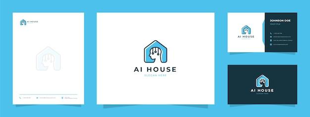Kunstmatig intelligent logo met visitekaartje en briefhoofd