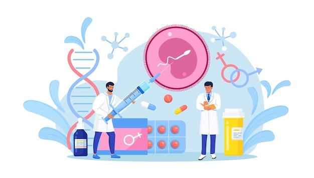 Kunstmatige inseminatie en voortplanting. in-vitrofertilisatieconcept. menselijke vruchtbaarheid, biologisch materiaalonderzoek voor reproductieve gezondheid. zwangerschapsbewaking. onvruchtbaarheidsbehandeling