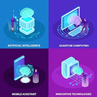 Kunstmatige intelligentie 2x2 ontwerpconcept set innovatieve technologieën quantum computing mobiele assistent isometrische gloed pictogrammen