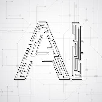 Kunstmatige intelligentie. abstracte geometrisch met printplaat