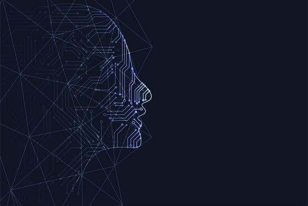 Kunstmatige intelligentie. abstracte geometrische menselijk hoofd overzicht met printplaat. technologie en engineering concept achtergrond. vector illustratie