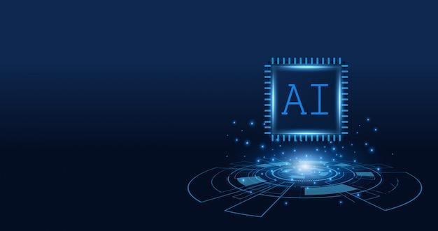 Kunstmatige intelligentie, ai-chipset op printplaat, futuristisch technologieconcept