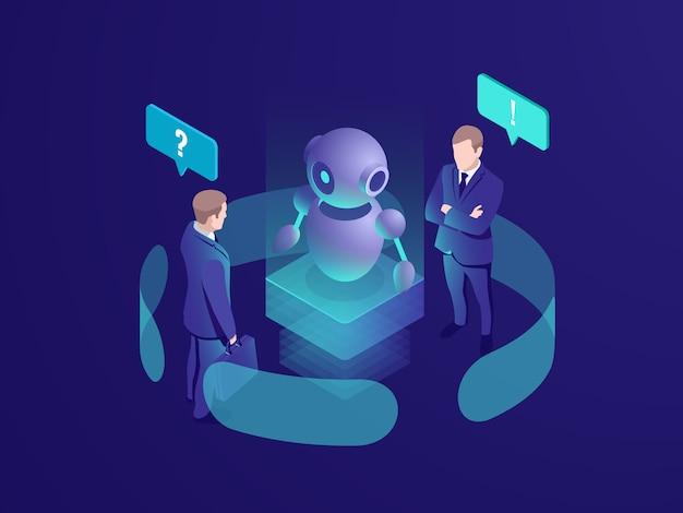 Kunstmatige intelligentie ai robot geeft aanbeveling, mens krijgt automatisch antwoord