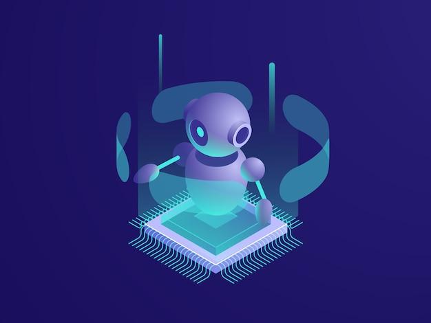 Kunstmatige intelligentie ai robot, serverruimte, digitale technologiebanner, computerapparatuur