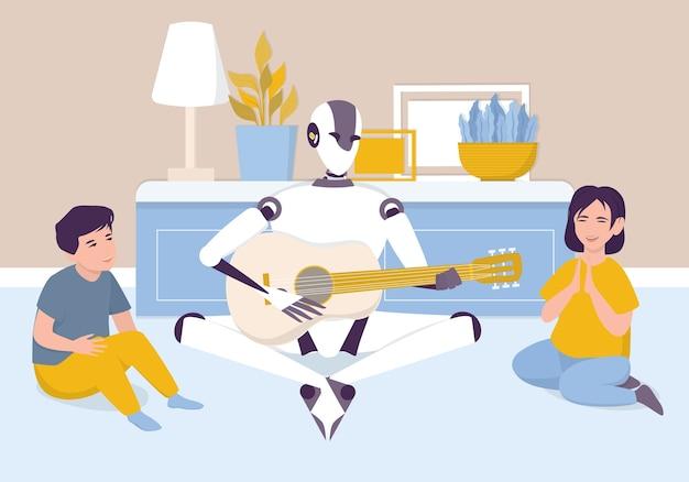 Kunstmatige intelligentie als onderdeel van de menselijke routine. binnenlandse persoonlijke robot die akoestische gitaar voor kinderen speelt. ai-personage met een muziekinstrument, toekomstig technologieconcept.