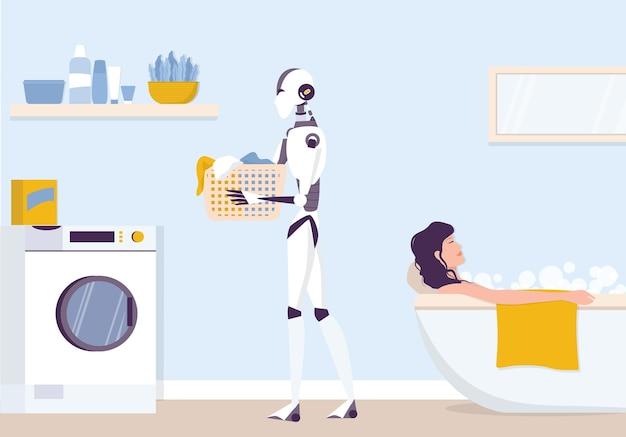 Kunstmatige intelligentie als onderdeel van de menselijke routine. binnenlandse persoonlijke robot die wasgoed maakt. ai helpt mensen in hun leven, toekomstig technologieconcept. illustratie