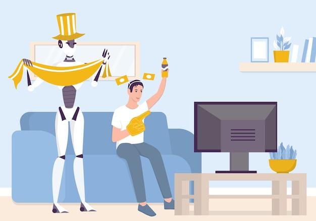 Kunstmatige intelligentie als onderdeel van de menselijke routine. binnenlandse persoonlijke robot kijken voetbal met man. ai helpt mensen in hun leven, toekomstig technologieconcept.