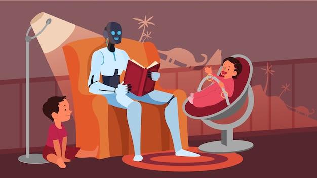 Kunstmatige intelligentie als onderdeel van de menselijke routine. binnenlandse persoonlijke robot