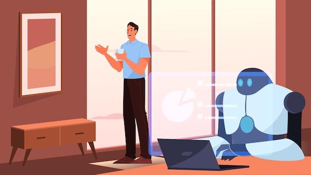 Kunstmatige intelligentie als onderdeel van de menselijke routine. huishoudelijke persoonlijke robot voor mensenhulp. ai helpt een zakenman, toekomstig technologieconcept.